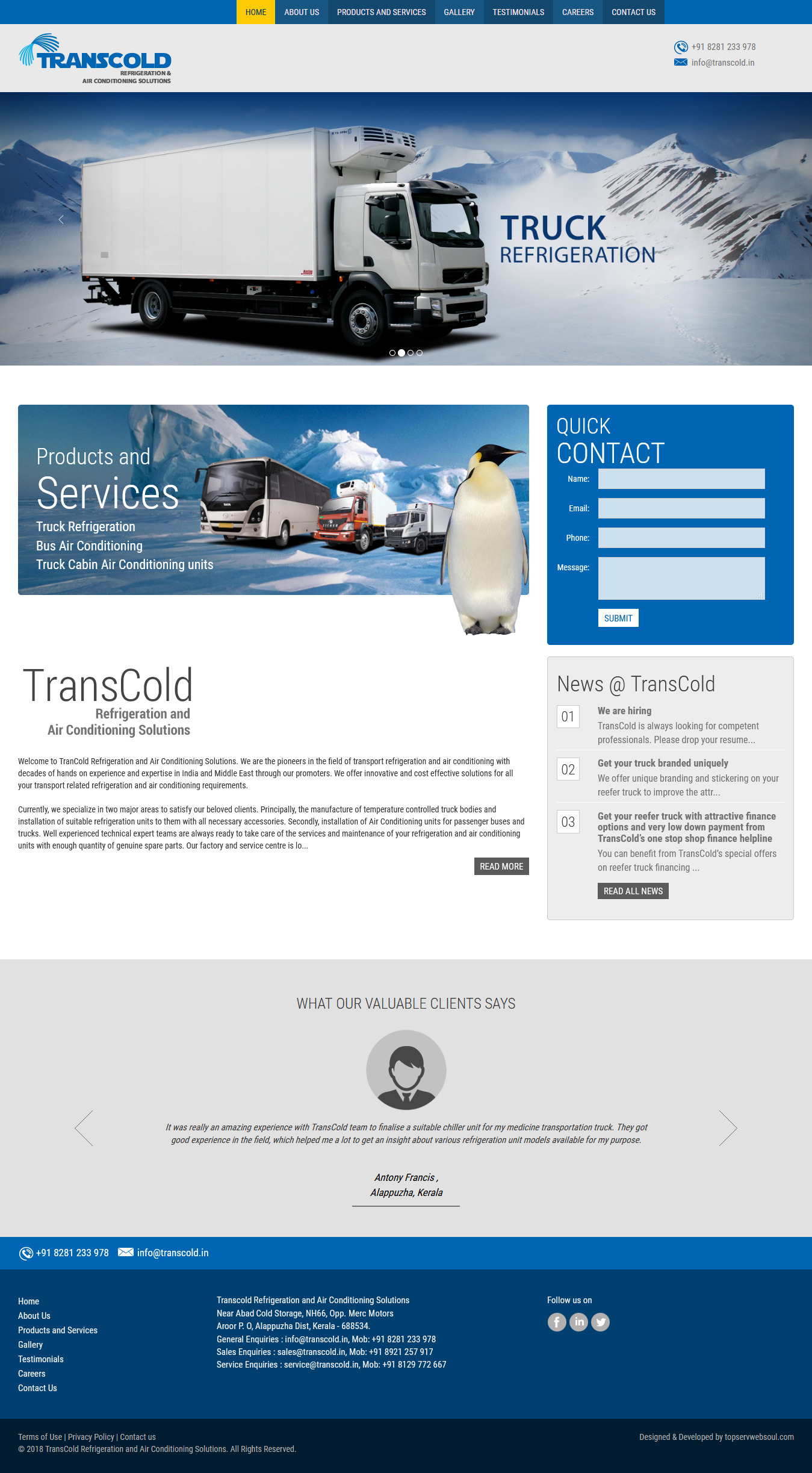 Transcold Refrigeration Air Conditioning Solutions